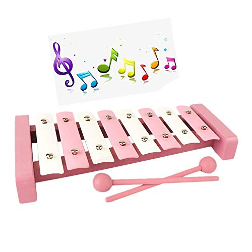 ZXIAQI Xylophon für Kinder, 8 Töne Holzspielzeug Musikinstrument, Schlaginstrument mit 2 Schlägeln Perfekt für Kleine Musiker,Rosa