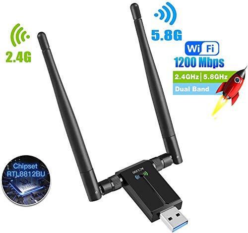 SP-Cow Antena WiFi 1200Mbps Adaptador WiFi USB 3.0 WiFi Adapter 5dBi Receptor 802.11ac WiFi Dual Band (5.8G/867Mbps 2.4G/300Mbps) para PC/Laptop/Desktop,Soporte Windows10/8/7/Vista/XP,Linux,MacOS X