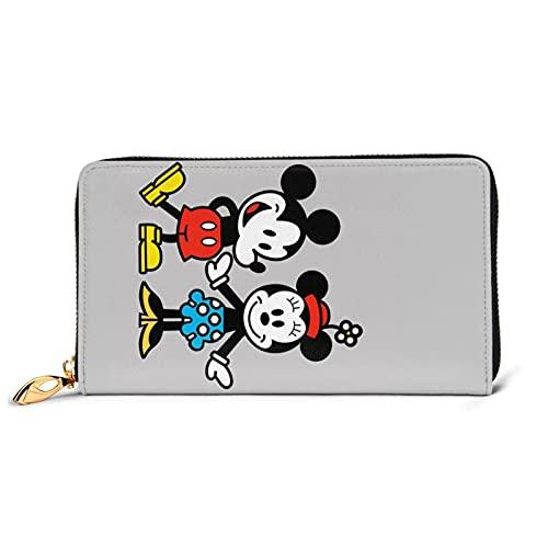 Mickey Mouse - Cartera de piel auténtica con cremallera de gran capacidad, impermeable, de alta calidad, para mujeres, hombres y mujeres