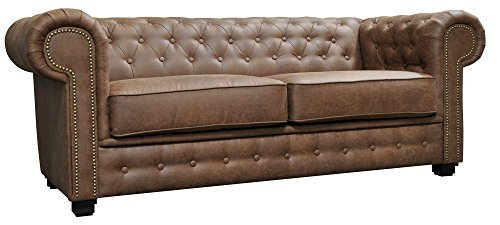 Astor Chesterfield Style Sofa Set 3+2 Seater Armchair Brown Faux Leather (3 Seater)