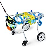 SummarLee Coche de Silla De Ruedas Perros para Rehabilitación de Extremidades Traseras de Perro, Patas de Mascotas Paralizadas y Discapacitadas, Andador de 4 Ruedas para Mascotas de 15 Kg a 50 Kg,S