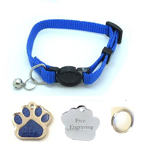 Collare per gatto con campanella, a sgancio facile, con targhetta identificativa a forma di zampa con glitter