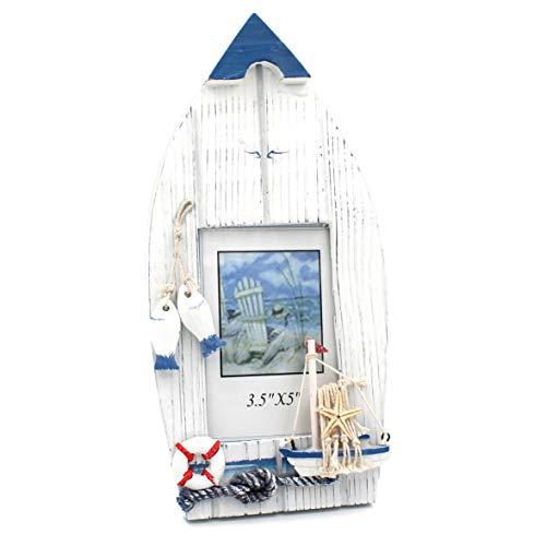 WB wohn trends Maritimer Bilderrahmen aus Holz, Boot Schiff, 27cm, blau weiß maritim Deko