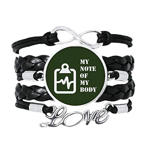 OFFbb-USA Body Record Balance Fluctuation Notebook Armband Love Accessory Twisted Leder Strickseil Armband Geschenk