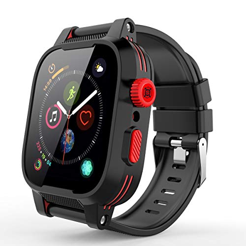 Waterproof Cases Apple Watch for 44mm Series 4/5, Rugged Shockproof Impact Resistant 360°Protective Built-in Screen Protector with Series 4/5 Soft Bands for Apple iWatch Series 4/5 44mm (red Black)