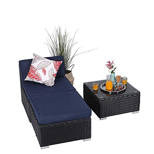 Unknown1 3 Piece New Patio Sectional Furniture Outdoor Sofa Set with Upgrade Rattan Blue Modern Contemporary Fabric Side Table Weather Resistant