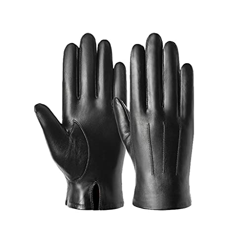 DSJMUY Guantes de cuero genuino para hombre, de invierno, cálido y suave, forro de lana, 100% de cuero, para conducción al aire libre, para clima frío