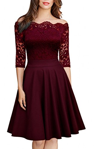 Mysmantic Juniors Women High Waist Empire Waist Swing Homecoming Party Cocktail Fashion Dresses with Sleeve Knee Length Wine Red XL
