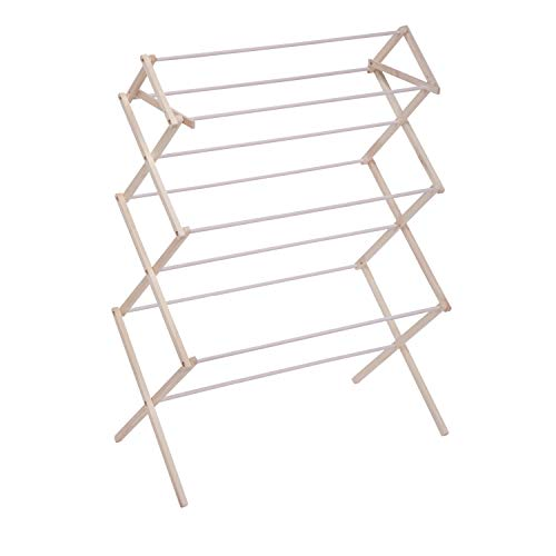 Honey Can Do Compact Folding Wooden Clothes Drying Rack DRY-09064c, White/Natural