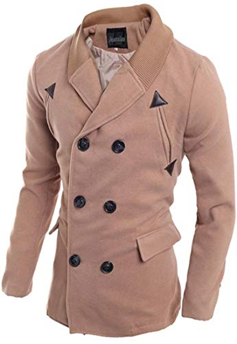 Willlly Mannen Fashion Knit Stitching Notched Chic Lapel Casual Double Breasted Trench Long Coat Jacket Winter Overcoat Tops 9560