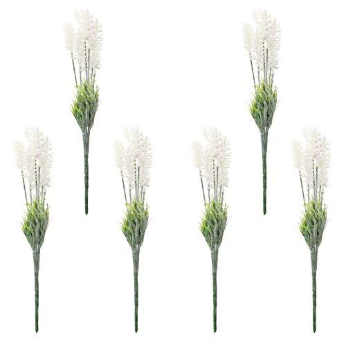 Yardwe 6 Pièces Artificielle Lavande Fleurs Bouquet Faux Lavande Simulation Usine Usine de Faisceau Centres De Table De Mariage Accueil Garden Party Décor Blanc