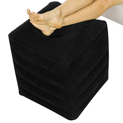 Xtra-Comfort Inflatable Ottoman - Foot Rest Cushion Support Pillow for Office Desk, Airplane Travel,...