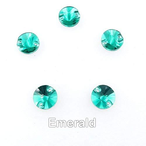Rivoli vidrio de forma redonda Cristal plano con 2 agujeros 6 tamaños Coser cristales de cuentas de diamantes de imitación para zapatos de vestido de novia bolsos diy, A12 Esmeralda, 18 mm 20