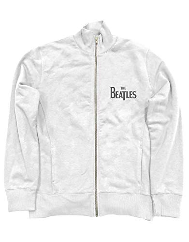 The Beatles Giacca Track Top Drop T Band Logo Nuovo Ufficiale Uomo Bianca Zipped Size XXL