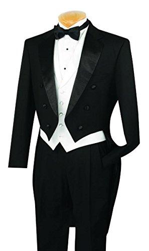 VINCI Men's Classic Fit Tuxedo with Tails & White Vest T-2X-Black-42R