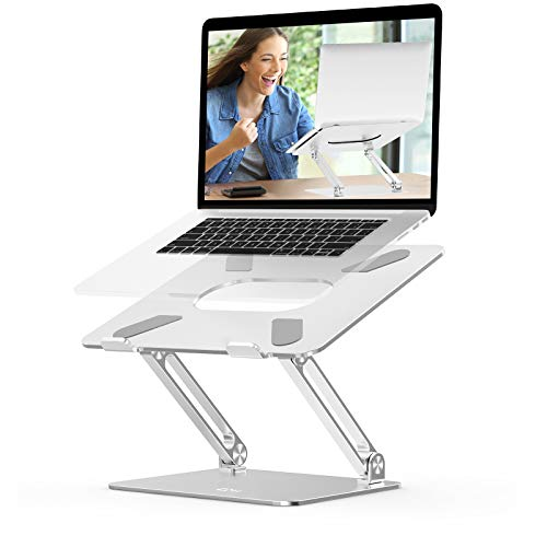 Laptop Stand, Ergonomic Computer Stand EPN Adjustable Portable Laptop Holder with Heat-Vent, Aluminium Alloy Compatible for MacBook Pro/Air, Dell XPS, HP, Samsung Laptops Up to 17 Inch-Silver