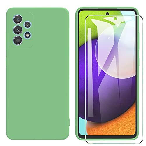 ARRYNN Funda Samsung Galaxy A52 5G con Cristal Templado Protector de Pantalla,Verde Ultra Slim Protectora Funda de Silicona Líquida Suave Case Cover para Samsung Galaxy A52 5G - Verde