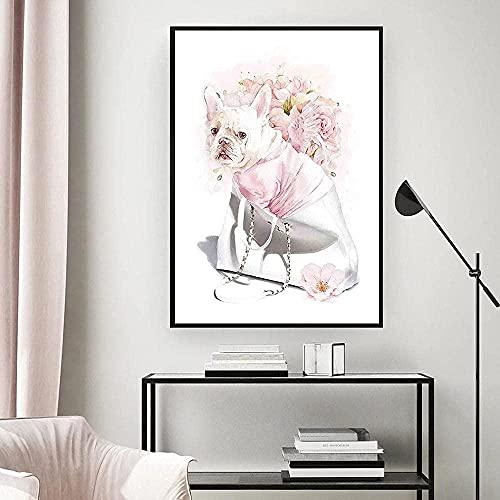 Lienzo Arte de la pared Pintura abstracta Perfume Peonía rosa Carteles e impresiones Imagen de botella de perfume para la decoración de la sala de estar 40x60cm Sin marco