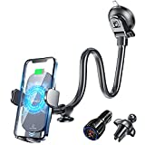 Wireless Car Charger, Windshield Car Phone Holder Mount Wireless Charging, Qi Fast Charger for Dashboard & Air Vent [with QC 3.0 Adapter] Compatible with iPhone 13/13 Pro Max/12, Samsung, LG & More