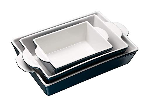Bakeware Set, Kook, Ceramic Baking Dish, Set of three, Casserole Dish for cooking, Cake Dinner, Banquet and Daily Use (Navy)
