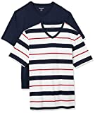 Amazon Essentials 2-Pack Loose-Fit V-Neck T-Shirt Fashion-t-Shirts, Red, White, and Navy Verrogated Stripe/Navy, M, Pack de 2