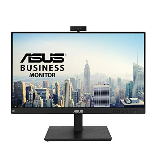 ASUS BE24EQSK - Monitor para videconferencias 23.8 Pulgadas, Full HD, IPS (sin Marco, cámara Web, Matriz de micrófonos, diseño ergonómico, antiparpadeo, luz Azul de Baja Intensidad), Color Negro