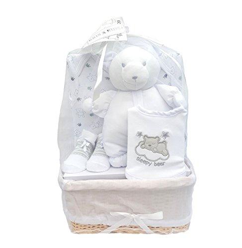 Bee Bo - Juego de regalo para bebé con mono de ratán, calcetines y osito en ratán, de 0 a 3 meses, disponible en azul, rosa, crema, limón o blanco