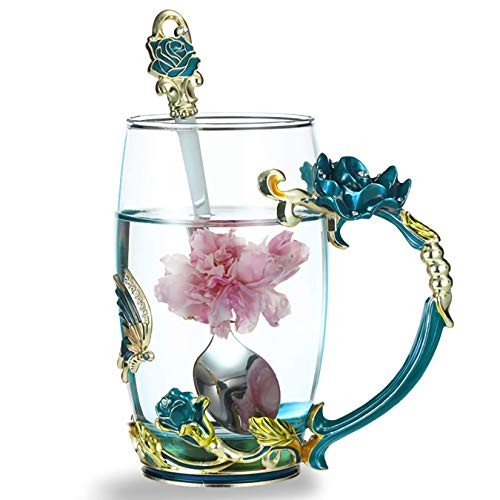 Kingrol 12 oz Glass Tea Cup with Spoon, Handmade Coffee Mug with Enamel Flower & Butterfly, Unique Gift For Women Wedding Birthday Valentine's Day Christmas