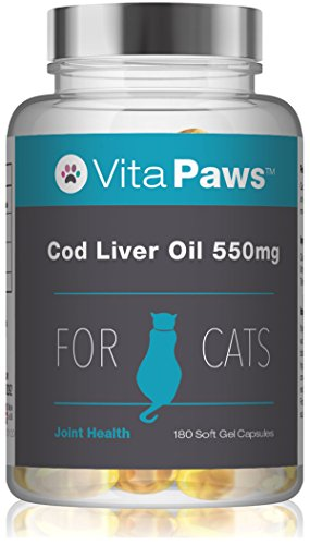 Cod Liver Oil for Cats 550mg | Supplement Popularly Taken for Joints, Healthy Heart, Skin & Coat | Added Vitamin A and D3 | 180 Soft Gel Capsules for Easy Swallowing | UK Manufactured