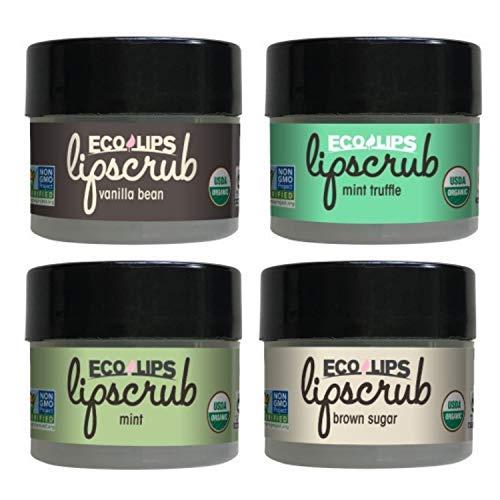 Eco Lips LIP SUGAR SCRUB 4-Pack (4 - 0.25oz jars) 100% Organic Lip Care Treatment with Organic Sugar & Coconut Oil - Gently Exfoliate & Polish Dry, Flaky Lips, 100% Edible (Variety 4-pack)