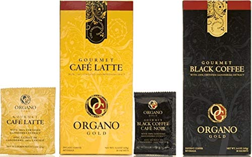 Combo Pack - Organo Gold Gourmet Coffee 1 Box Black Coffee and 1 Box Cafe Latte with Ganoderma Extract