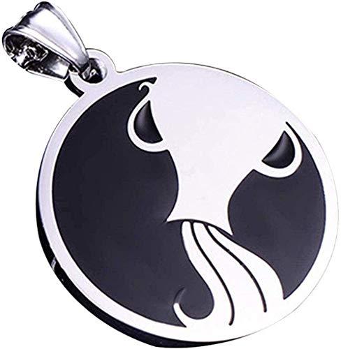 DUEJJH Co.,ltd Halskette 12 Constellation Memorial Anhänger Student Einzigartiges Horoskop Edelstahl Astrologie Gotische Halskette Gemini-Aquarius Schmuck