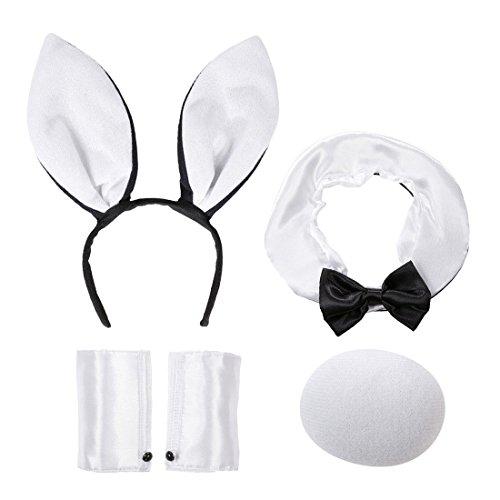 Amakando Disfraz de conejo, disfraz sexy de conejo, 4 piezas, orejas, collar, cola, manguitos, disfraz de conejo, disfraz de animal, disfraz de Playboy para mujer