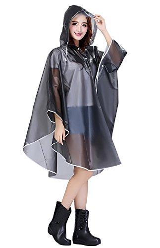Battercake Donne Poncho Impermeabile Antivento con Cappuccio Raincoat Mantello Outdoor Equitazione Auto Elettrica Bicicletta Rainwear Pioggia Cape Cappotto da Pioggia
