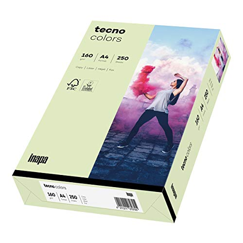 inapa farbiges Druckerpapier, buntes Papier tecno Colors: 160 g/m², A4, 250 Blatt, hellgrün