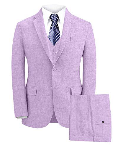 Wemaliyzd Men's Summer 3 Piece Linen Wedding Suit Peak Lapel Blazer Vest Pants MY153-TH(Lavender,40R)