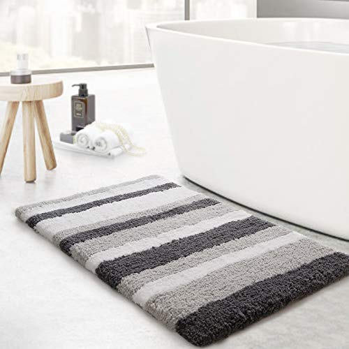 KMAT Luxury Bathroom Rugs Bath Mat,20'x32', Non-Slip Fluffy Soft Plush Microfiber Shower Carpet Rug, Machine Washable Quick Dry Ultra Shaggy Bath Mats for Tub, Bathroom and Shower, White-Grey