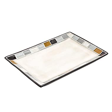 Gibson Elite Casa Gris Reactive Glaze 14  x 9  Platter, Cream and Grey