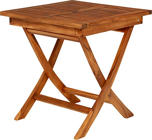 ガーデン正方形テーブル チーク材 折りたたみ式 幅700×奥700×高735mm RT-1593TK