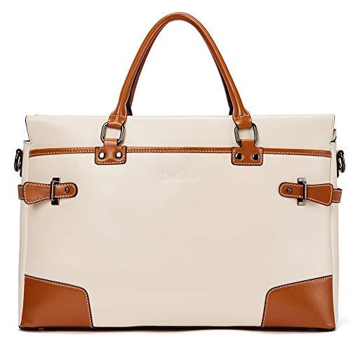 BOSTANTEN Damen Leder Aktentasche Businesstasche 14 Zoll Laptoptasche Henkeltasche Top Handle Schultertasche Vintage Beige Braun