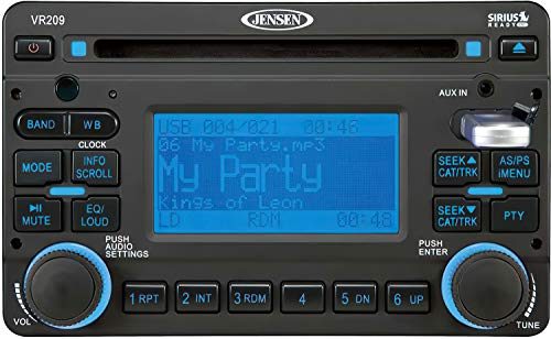 Jensen VR209 AM/FM/WB/CD/USB/RBDS 2.0 DIN Stereo Mobile Audio System, Compatible with iPod & Sirius, 200 Watts Audio Output Power (4 x 50W), NOAA 7-Channel Weather Band, Front USB and AUX In (Renewed)