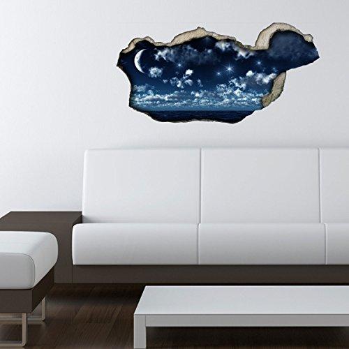 NEU 3D Wandsticker 3D-Optik Nachthimmel Wanddeko 3D Wandtattoo 3D Wandbilder Wandgestaltung DS043(60x29cm)