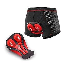 N+A d.Stil Herren Radunterhose Radsportshorts Fahrradhosen mit elastische atmungsaktive 4D Gel Sitzpolster M-3XL (Schwarz-Rot, XL)