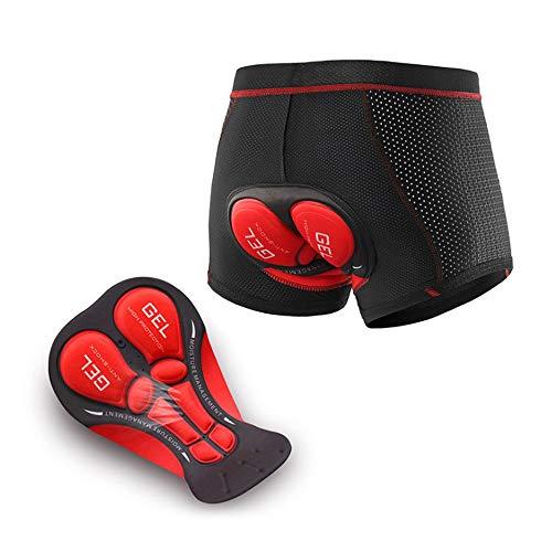 N+A d.Stil Herren Radunterhose Radsportshorts Fahrradhosen mit elastische atmungsaktive 4D Gel Sitzpolster M-3XL (Schwarz-Rot, 2XL)