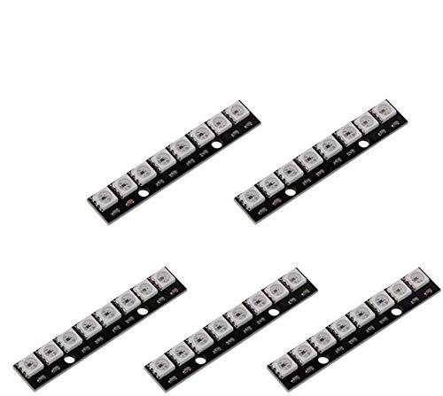 ZHITING 5 Stück WS2812 5050 RGB 8 LEDs Lichtstreifen-Treiberplatine 8-Kanal-integrierte vollfarbgesteuerte Entwicklungsplatine Schwarz für Arduino