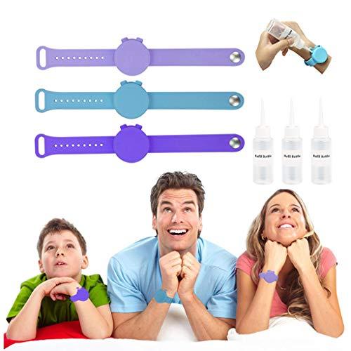 1/3/4 PC Rameng Bracelet De Savon en Silicone Portatif Bracelet De Distributeur De Main De Bande Squeeze Bottle, Distributeur De Main, Distributeur De Gel De Lavage De Main Liquide (3PC MulticoloreC)
