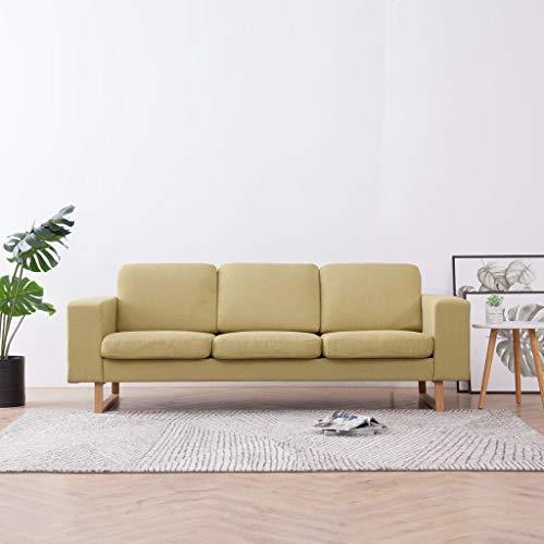 UnfadeMemory 3-Sitzer-Sofa Loungesofa Stoffsofa Polstersofa Holzrahmen mit Kissen Stoffpolster Wohnzimmer Sofagarnitur Sitzkomfort 200 x 82 x 75 cm für 3 Personen (Grün)