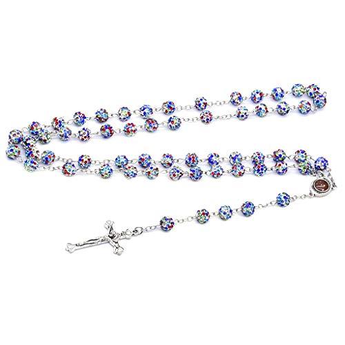 planuuik Kristallkreuz Anhänger Rosenkranz Perlen Kette Halskette Christliche Religion Bunte Schmuck Charm Geschenke