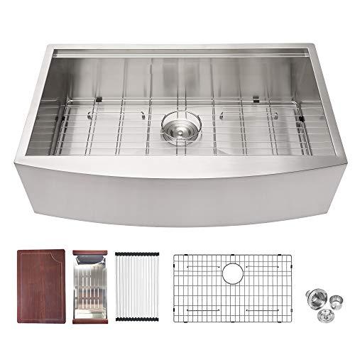 30 Farmhouse Sink - Logmey 30 inch Kitchen Sink Single Bowl Workstation Apron Sink 18 Guage Stainless Steel Farm Sink