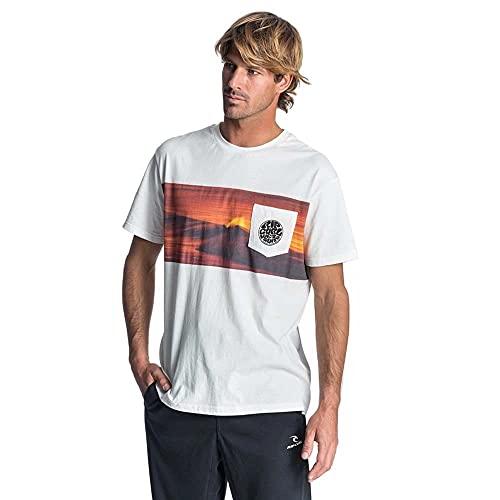 RIP CURL Camiseta Action, Original para Surfista, Camiseta Blanca
